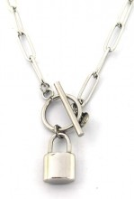 E-A15.2 N2033-020S S. Steel Necklace with 16mm Padlock SilverE-A15.2 N2033-020S S. Steel Necklace with 16mm Padlock Silver