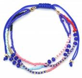 A-B20.1 B2039-004C Layered Bracelet with Beads Blue