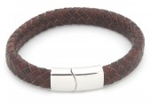 B105-002 Leather Bracelet with Stainless Steel Lock 21cm Brown