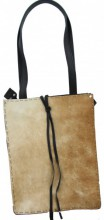 S-A2.3 Leather Cowhide Shopper Black with Brown Cowhide 29x37x15cm