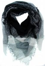 L-F7.2 Wool - Viscose Scarf Grey-Black-White 140x140cm