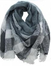 Q-H3.2 Wool - Viscose Scarf Grey-White 140x140cm