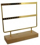 T-N4.2 PK424-004 Wood with Metal Earring Display 23x22x7cm Chrome Gold