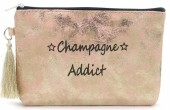 BAG520-001D Clutch With Tassel Champagne Addict 18.5x13cm Pink-Gold