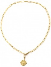 D-C17.2 N2003-005G S. Steel Chain Necklace with Coin Gold