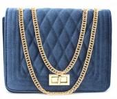 Y-D6.1 BAG122-004 Trendy Velvet Shoulder Bag Blue