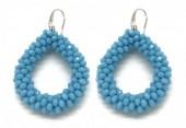 B-A15.1 E007-001 Facet Glass Beads 4.5x3.5cm Blue