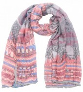 K-E4.1 Scarf with Aztek print - Fringes and Tassels 180x70cm