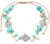 G-E3.2 B536-087A Bracelet Shells and Stones Blue