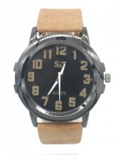 B-F22.3 W523-002B Quartz Watch with PU Strap 45mm Brown