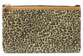 S-I6.2 BAG1824-005 Make Up Bag with Leopard Print and Tassel 22x13.5cm Brown
