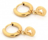 E1842-002 Stainless Steel Earrings with Star Gold