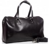 K-E3.1 BAG-921 Luxury Leather Travel-Sport Bag 47x32x16cm Black