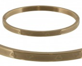 E-C19.2  Stainless Steel Bangle 6x5cm B005-003 Gold with Hearts