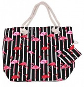 BAG119-001A Beach Bag Flamingo with Small Wallet Black