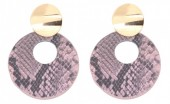 D-E3.1 E220-009 Earrings with Snakeskin 5.5x4cm Pink