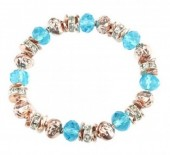 A-E12.8 B254-084 Elastic Bracelet with Metal Beads and Crystals