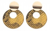 D-D3.2 E220-009 Earrings with Snakeskin 5.5x4cm Orange