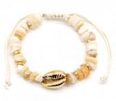 D-E2.1 B302-004 Bracelet with Shell and Stones Beige