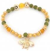 B-B2.4 B130-010 Elastic Bracelet with Bee Charm Ocher Yellow