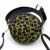 Z-D2.3 BAG212-001 Combination Bum-Shoulder Bag Leopard incl Belt 14x14x6cm Black-Green