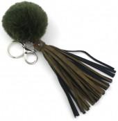 A-B14.7 Key-Bag Chain with Fake Fur Tassels and Star Green
