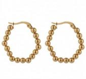 B-B17.5 E2138-008G S. Steel Earrings Balls 3x2.5cm Gold