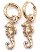 B-C4.2 E007-013RG S. Steel 10mm Earring with 17mm Seahorse Rose Gold