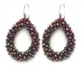 A-F21.1  E007-001 Facet Glass Beads 4.5x3.5cm Shiny Bordeaux