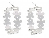 A-B24.1 E2126-005S Stainless Steel Earrings 2.5cm Flowers Silver