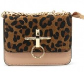 T-L2.2  BAG122-001 Trendy PU bag with Leopard Print Old Pink 18x14x6 cm