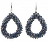 F-E7.3 E007-001E Facet Glass Beads 4.5x3.5cm Grey Multi