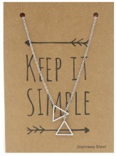 N1759-007 Stainless Steel Necklace Triangles Silver