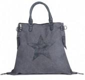 Q-L7.2 BAG017-003 Grey Canvas Bag with PU Star XL 44x40x16cm