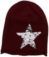 X-I6.1  Beanie with Star and Sequins Red