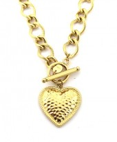 E-D2.2 N2033-042G Chunky S. Steel Necklace 25mm Heart Gold