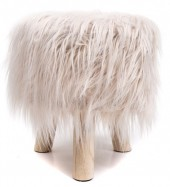 Y-C4.6 ST002-001 Stool with Fake Fur 31x34cm Light Brown