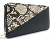 Q-H3.1 WA420-007 PU Wallet with Snake Print and Screws 19x10cm
