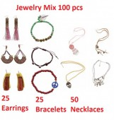 Jewelry mix 100 pcs 25 Earrings - 25 Bracelets - 50 Necklaces