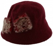 K-A1.1  Woolen Hat with Fake Fur Pompons Red