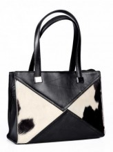 Leather Bag 32x24x11cm Black with Mixed Color Cowhide
