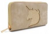 Q-L6.1 WA117-009 PU Wallet with Glitter Unicorn 19x10cm Brown