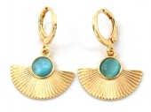 C-F18.3  E426-001 Earrings 10mm with 20x15mm Charm Gold