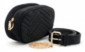 Z-C1.5 BAG212-002 Velvet Combination Bag incl Belt 19x12x7cm Black