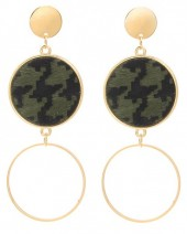 A-A20.2  E006-004 Earrings with Animal Print Gold-Green