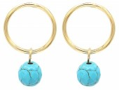 G-B5.2  E2019-039G Earrings Turqoise 1.5x2cm Gold