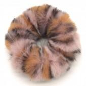 S-F1.3 H414-003A Scrunchie Fluffy Animal Print Pink