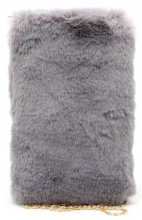 Q-D5.2 BAG005-001 Fluffy Pouch with Chain 21x14cm Grey
