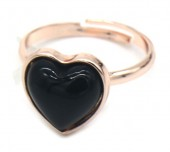 D-C8.3 R1934-009 Adjustable Ring Black Onyx Rose Gold