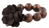 E-D19.3 Wooden Elastic Bracelet with 18mm Beads and PU Flower Brown